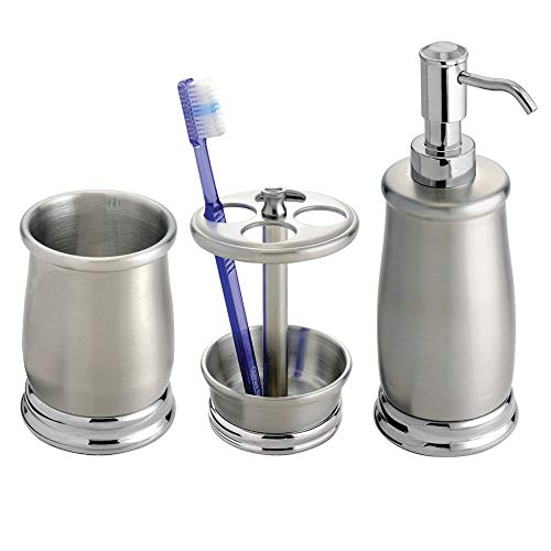 mDesign Metal Bathroom Vanity Countertop Accessory Set - Includes Refillable Soap Dispenser, Divided Toothbrush Stand, Tumbler Rinsing Cup - 3 Pieces - Brushed/Chrome (Design Brushed Chrome)