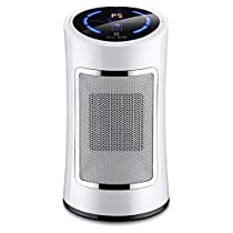 K2400 Indoor Remote Control Heater with Adjustable Thermostat, 500-800W Tabletop/Floor Electronic Ceramic Overheating and Tip-Over Protection White.