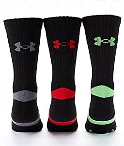 4 Pair Mens Under Armour Performance Crew Socks (Large (Mens 9-12.5), Black - 1 Red/1 Green/2 Grey Logo)