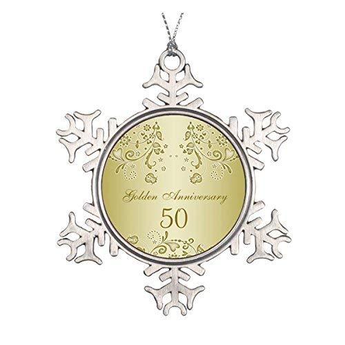 (Blake55Albert Golden Swirls 50th Wedding Anniversary Ornament 583099)