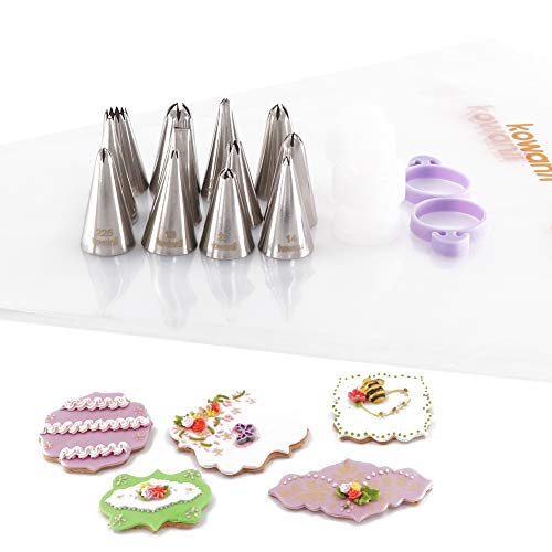 kowanii Cookie Decorating Tips for Piping, Sugar Cookies Royal Icing Tips and Bags Coupler Set, Small Flower Holiday Frosting Tips for Cake Cupcake Cookie Decorating Supplies Kit Tools