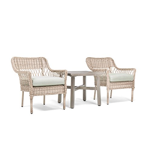 Blue Oak Outdoor Colfax Patio Furniture 3 Piece Bistro Set (2 Dining Chairs, Side Table) with Sunbrella Cast Oasis Cushions (Vintage Rattan Sale Dining Set)
