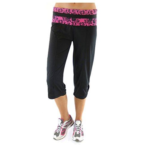 Alex + Abby Women's Plus-Size Lace Capri 2X Black/Magenta by Alex + Abby