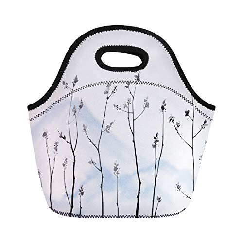 (Semtomn Neoprene Lunch Tote Bag Tree Branches Fresh Leaves and Blue Mountains on Hieroglyph Reusable Cooler Bags Insulated Thermal Picnic Handbag for Travel,School,Outdoors, Work)