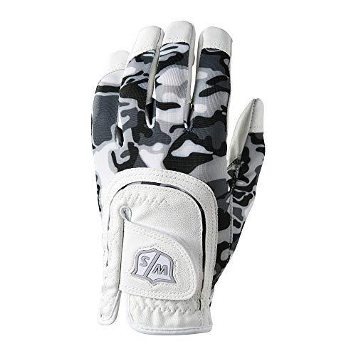 (Wilso Staff Junior Fit All Camo Golf Glove, Black/White)