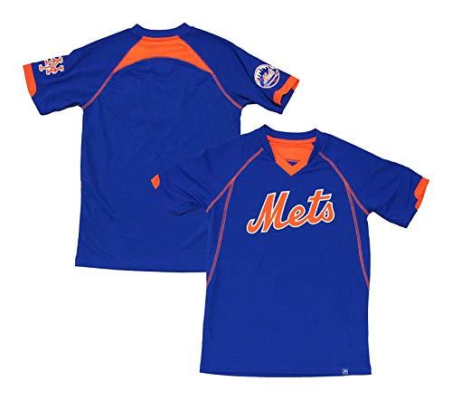 New York Mets Blue Youth Cool Base Lead Hitter Wordmark V Neck T Shirt (Large 14/16) ()