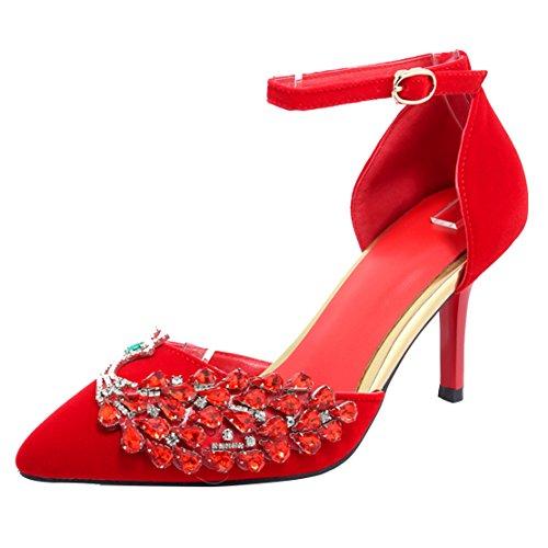 AIYOUMEI Damen Spitze Pumps mit Reiszlig;verschluss Stiletto High Heels Abend Schuhe