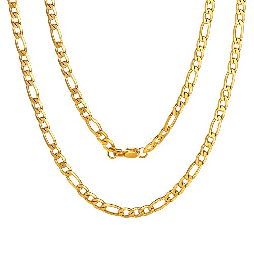 Mens Rock Neck Chain Gold Plated Figaro Chain 24
