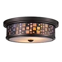 Landmark 70027-2 Tiffany 2-Light Flush Mount, 4-Inch, Oiled Bronze with Tea Stained Glass
