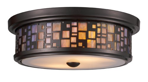 Tea Stained Glass - Elk 70027-2 Tiffany 2-Light Flush Mount, 4-Inch, Oiled Bronze With Tea Stained Glass