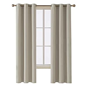 Deconovo Room Darkening Thermal Insulated Blackout Grommet Window Curtain Panel for Living Room, Light Beige, 42×84 Inch, 1 Panel