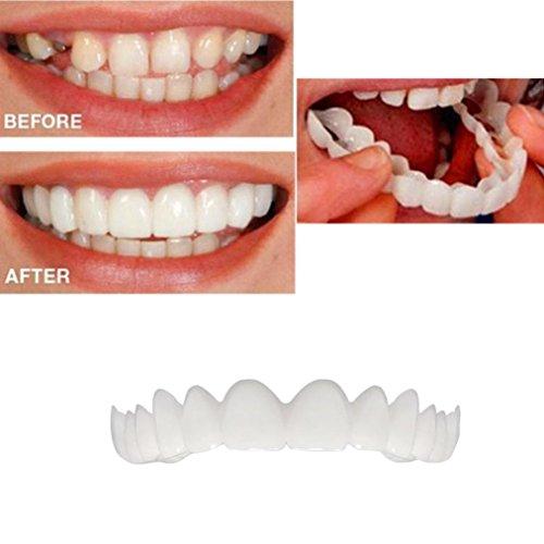 Makaor Teeth Top Cosmetic Veneer,Comfort Fit Flex Cosmetic Teeth Denture Teeth Top Cosmetic Veneer (white, One size)