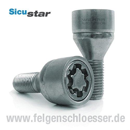 38mm Sicustar Felgenschloss M12x1,5 L/änge SW 17 Kegel 60/°