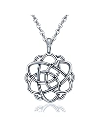 "EUDORA Sterling Silver Good Luck Celtic Knot Irish Vintage 925 Women Necklace Pendant, 18"",Gift for Her"