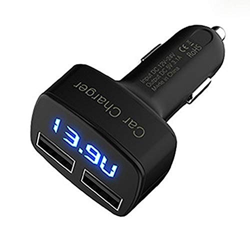 ningbao771 4-in-1 Dual USB Car Charger Digital LED Display DC 5V 3.1A Universal Adapter with Voltage Temperature Current Meter Tester