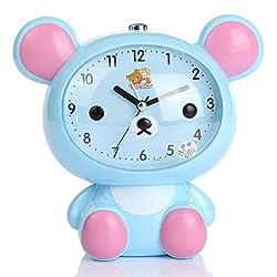 YIJIA Cute Bear Shape Kids Desk Alarm Clock Cartoon Battery Powered Analog Mute Alarm Clock with Night Light(Blue)