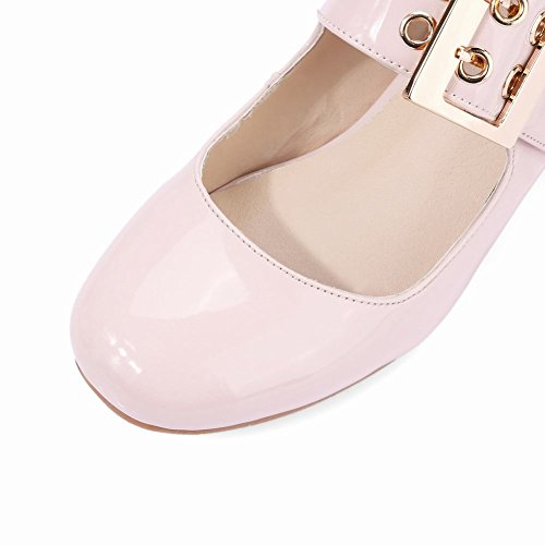 Pink Damen Klettverschluss Shoes Pumps Blockabsatz Lackleder Mee 41wvYq4