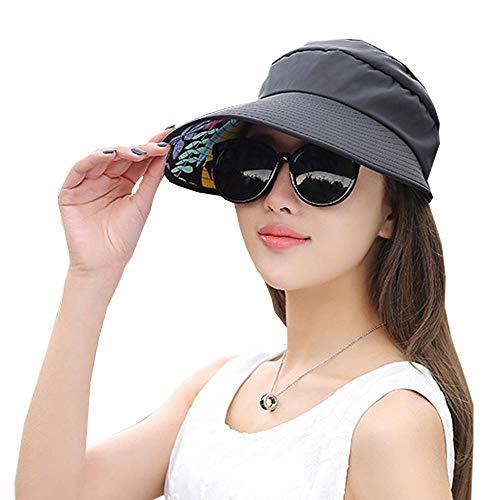 Visor Cap for Women Wide Brim UV Protection Summer Beach Sun Hats (C-Black)