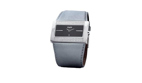 M&M Glamtime M11613-999 - Reloj de mujer de cuarzo, correa de piel color gris: Amazon.es: Relojes