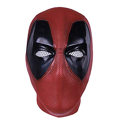 DP Mask Wade Full Mask - Deluxe Full Head Latex Movie Helmet Cosplay Costume Adult Accessory (Deadpool mask) Red -