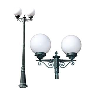 "Opaque White 86"" Double Globe Outdoor Post Light Garden Light Lamp Fixture Decorative Scrolls"
