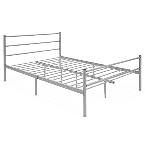 Best Choice Products Full Size Metal Bed Frame Platform w/Headboard & Center Support Legs - Silver