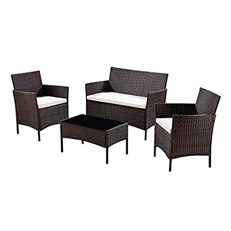 c3944b9a6d2 Unmatchable Garden Furniture Set Conservatory Patio Rattan Outdoor Table  Chairs Sofa 5 Colour Choices (Dark Brown)  Amazon.co.uk  Garden   Outdoors