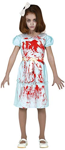 Girls Creepy Bloody Twin Sister Scary Horror Halloween Film Fancy Dress Costume Outfit 5-12 Years (5-6 Years)