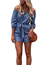 Zilcremo Women Denim Jumpsuits Off Shoulder Short Strapless Rompers Overall