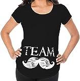 Awkward Styles Team Moustache Pregnancy Announcement Maternity T Shirt Baby Boy Announcement Black L