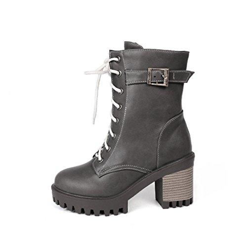 stivali QXregalo di spessa della stivali cintura tie impermeabile e sicurezza dimensioni up di alta di scarpe anteriore grandi ZQ Americana donna gray femm Natale fibbia piattaforma della Europea tacco dSFdqZ