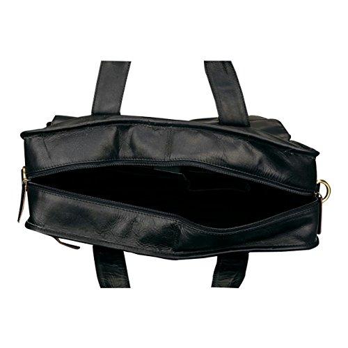 Finelaer Leather Laptop Computer Messenger Bag with Pockets for laptops Macbooks 14'' Black by FINELAER (Image #2)