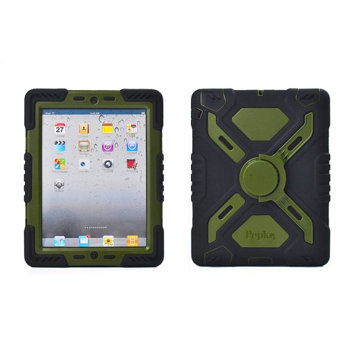 iPad Mini Case,iPad Mini Case For Kids,iPad Mini 1 & 2 & 3 With Retina Display Silicone Plastic Kid Proof Extreme Duty Dual Protective Back Cover Case With Kickstand and Sticker For Apple iPad Mini 1&2&3-Rainproof Sandproof Dust-proof ShockProof (Black/Olive)