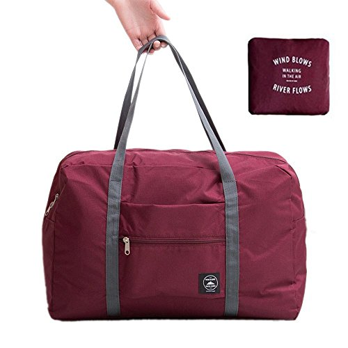 Foldable Travel Duffel Bag Super Lightweight Holdall Waterproof Carrying Bag for Luggage,Camping,Sports Gear or Gym, Water Resistant Nylon (Dark Red)
