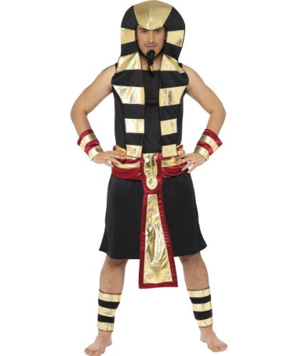 Smiffy's Men's Pharaoh Costume Tunic Headpiece Belt Arm and Leg Cuffs, Multi, Medium