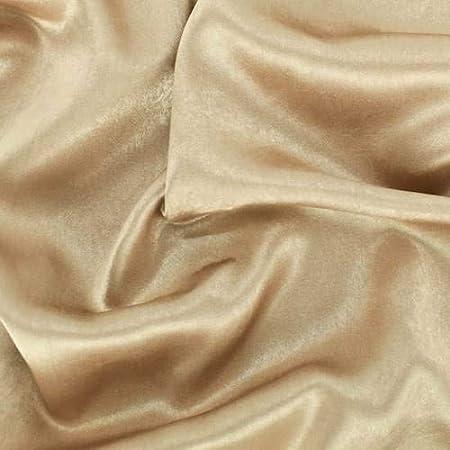 Golden Khaki Stretch Satin Fabric By The Yard