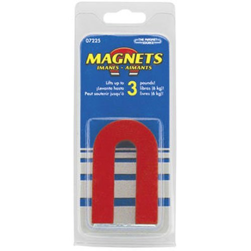 Red Magnet Horseshoe (Red Cast Alnico 5 U-Shaped Magnet With Keeper, 1-3/16