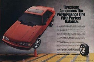 Firestone 1990 Ford Mustang in FIREHAWK Tires Vintage Color AD - 2 Pages - USA - Great Original !!