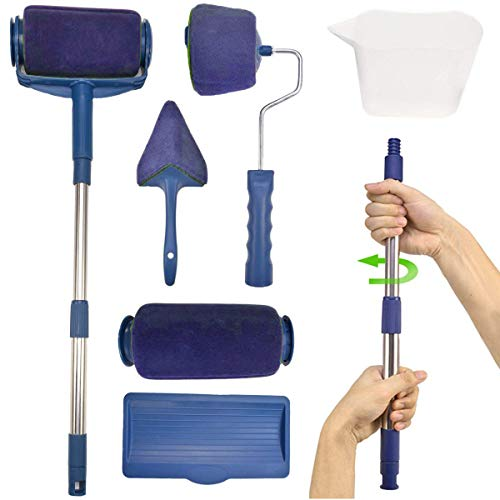 (Paint Roller Brush Kit,Multifunctional House Paint Rollers Tools Set with Paint Runner Pro,Wall Printing Brush Applicator,New Telescopic Rod for House,School & Office Painting (Blue))
