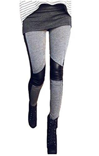 Bohai Sexy Damen Dünne Spleißen Leggings Leggins Hüfthose Hose