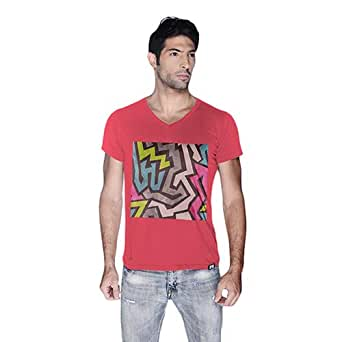 Creo Abstract 01 Retro Printed T-Shirt For Men - L, Pink