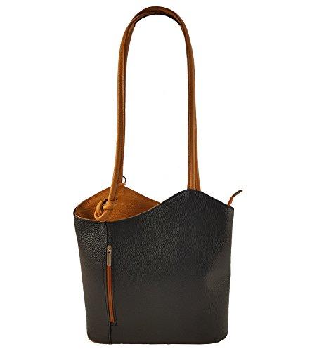 FreyFashion - Made in Italy - Bolso mochila para mujer Glattleder Schwarz-Cognac