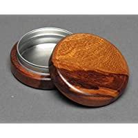 Wood and Steel Pill Box, Red Marblewood, Personalized Monogram Optional