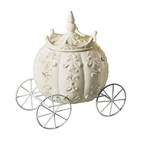 ART & ARTIFACT Cinderella's Carriage Stoneware Jar - Princess Coach Storage Container -Home Wedding and Birthday Decor
