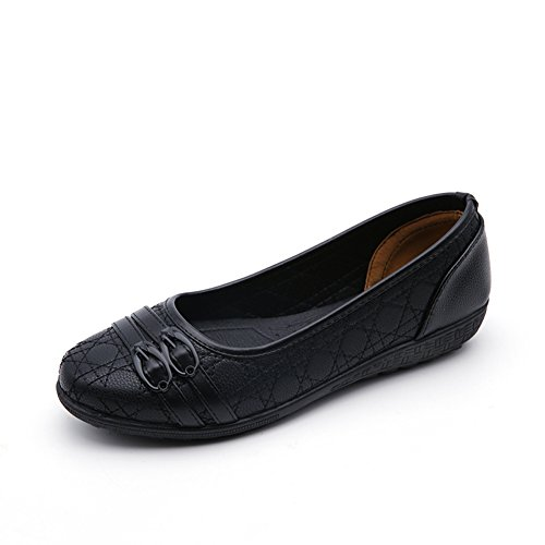 Ifrich Women's Leather Classic Comfort Ballerina Walking Flats Shoes-Size Updated (10 B(M) US, Button)