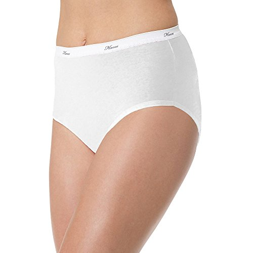 Elastic Cotton Underwear Brief Panty - Hanes No Ride Up Cotton Brief (PP40AD) White, 10