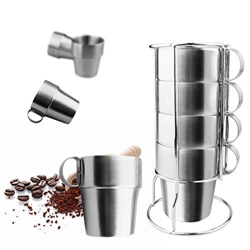 A-SZCXTOP Set of 4 Stainless Steel Coffee Cups Double-Layer Insulated Coffee Mugs with A Stand and A Bag