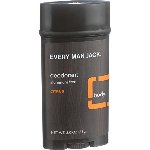 Every Man Jack Body Deodorant - Citrus - Aluminum Free - Long Lasting - 3 oz (Pack of 2)