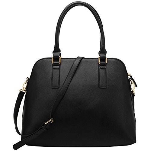 FASH Dual Shoulder Strap Cross-body and Doctor Style Handbag,Black,One Size