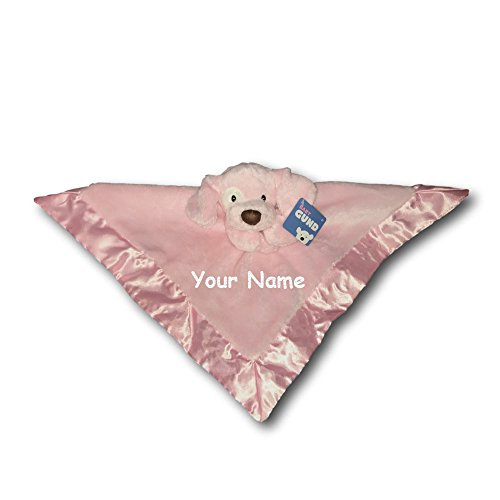 Personalized GUND Spunkie Pink Puppy Dog Baby Lovey Toy Snuggle Blanket - 16 Inches (Blanket Baby Dog Pink)